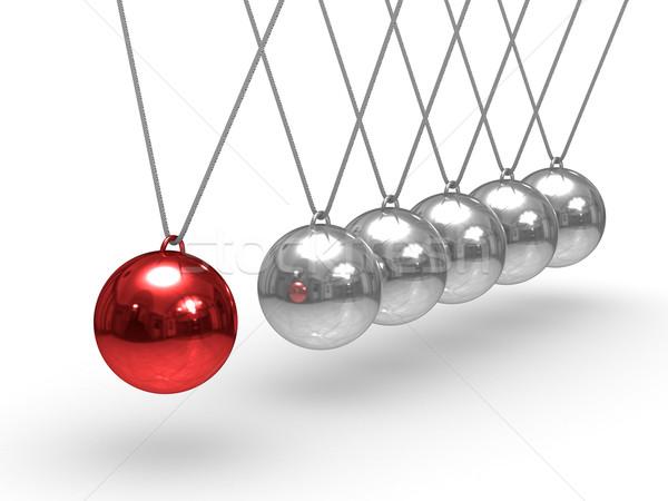 Balancing spheres on white background. Isolated 3D image Stock photo © ISerg