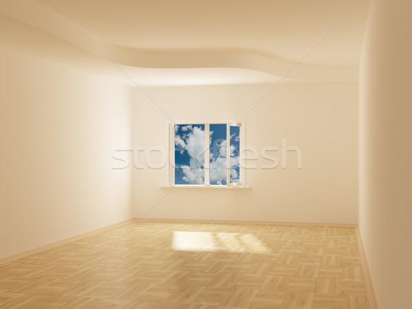Quarto vazio atrás abrir janela 3D Foto stock © ISerg