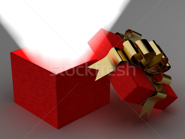 Open gift box with a ray of light. 3D image. Stock photo © ISerg