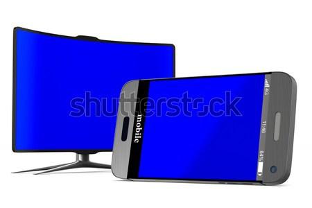 TV on white background. Isolated 3D illustration Stock photo © ISerg