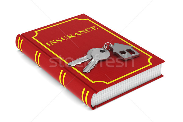 Two keys and trinket house and red book on white background. iso Stock photo © ISerg