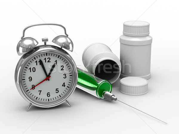 Stock photo: Drug intake under schedule. Isolated 3D image