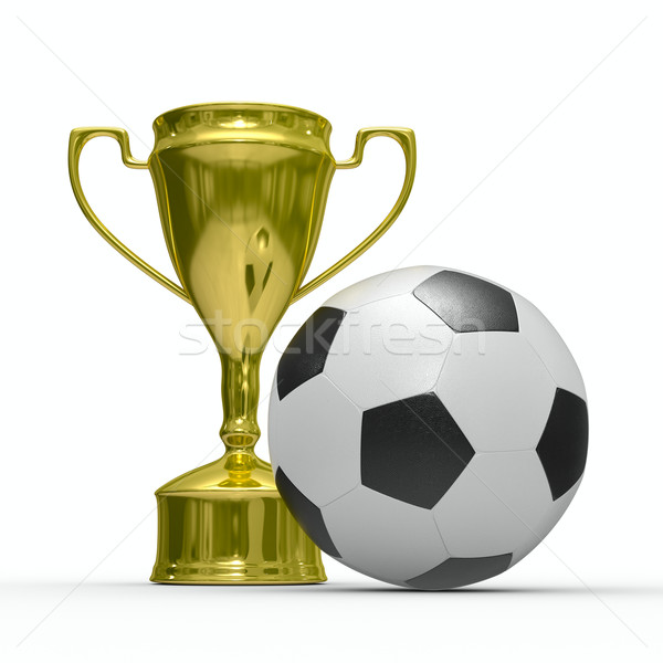 Gold cup winner with soccer ball. Isolated 3D  image Stock photo © ISerg