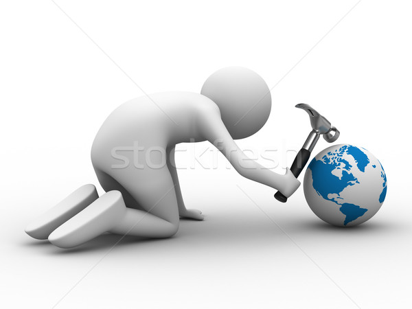 Planet repair on white background. Isolated 3D image Stock photo © ISerg