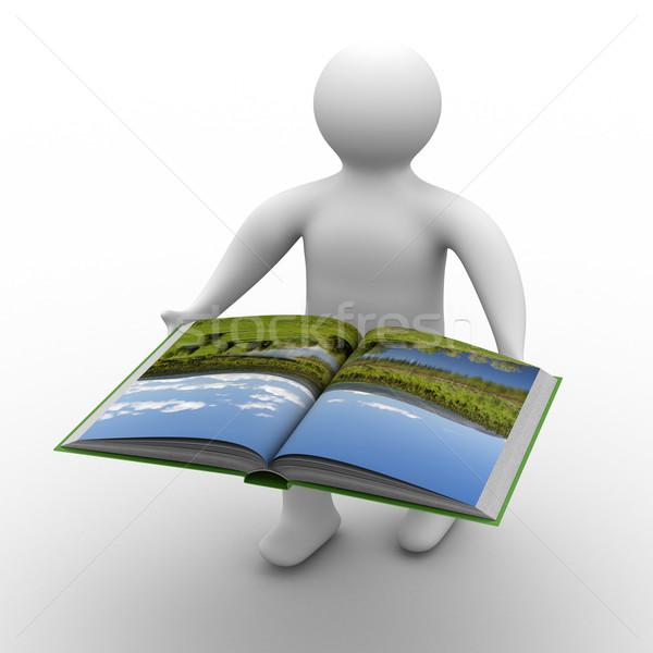 Stock fotó: Férfi · nyitott · könyv · fehér · izolált · 3D · kép