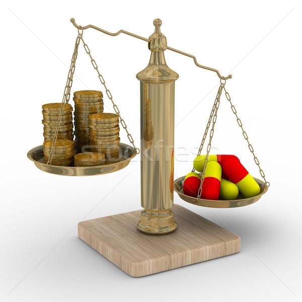 Fizetett gyógyszer költség kezelés izolált 3D Stock fotó © ISerg