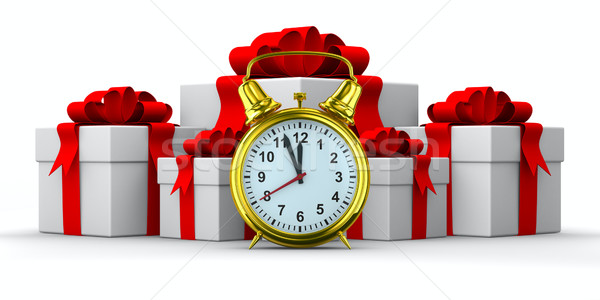 Foto stock: Despertador · blanco · caja · de · regalo · aislado · 3D · imagen