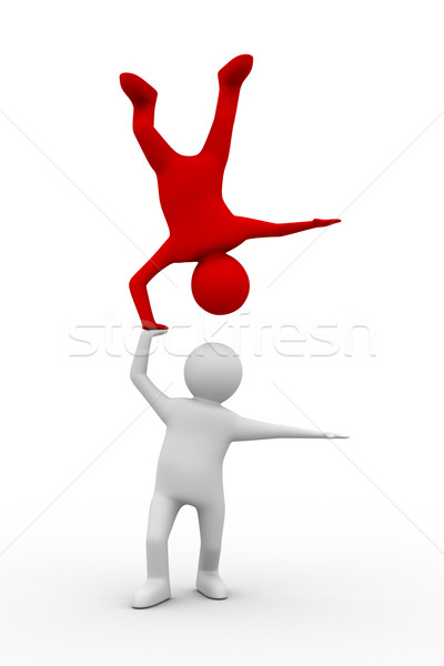 Stock photo: Man handstand on white background. Isolated 3D image