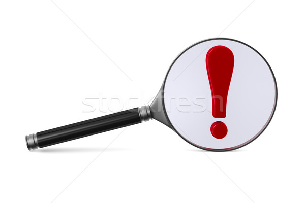 Magnifier and exclamation sign on white background. Isolated 3D  Stock photo © ISerg