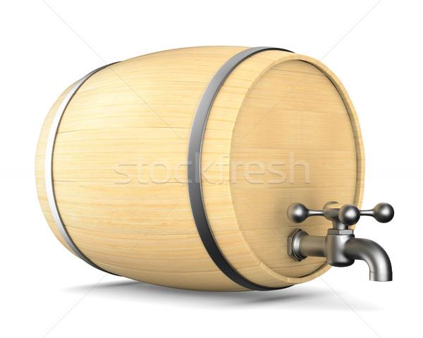 Wooden barrel on white background. Isolated 3D illustration Stock photo © ISerg