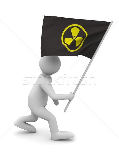 Radiazione simbolo bandiera isolato 3D immagine Foto d'archivio © ISerg