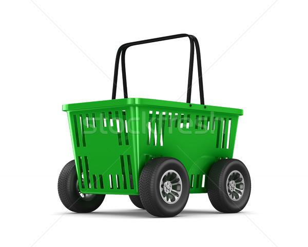 Yeşil boş alışveriş sepeti tekerlekler beyaz iso Stok fotoğraf © ISerg