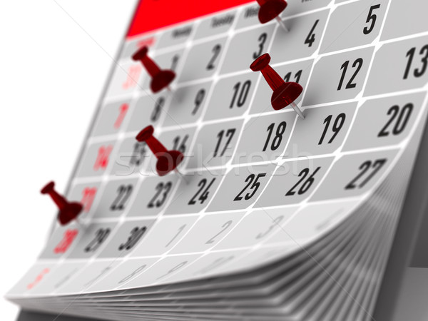 red pin marking important day on calendar. 3D illustration Stock photo © ISerg