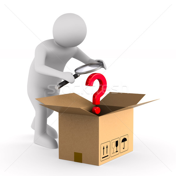Man with magnifier and open box cargo on white background. Isola Stock photo © ISerg