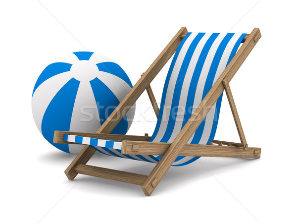 Deckchair and ball on white background. Isolated 3D image Stock photo © ISerg