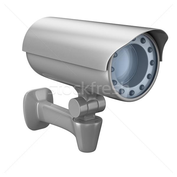 Biztonsági kamera fehér izolált 3D kép technológia Stock fotó © ISerg