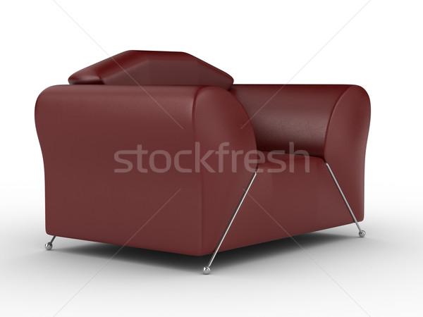 Stock fotó: Izolált · piros · bőr · fotel · belső · 3D