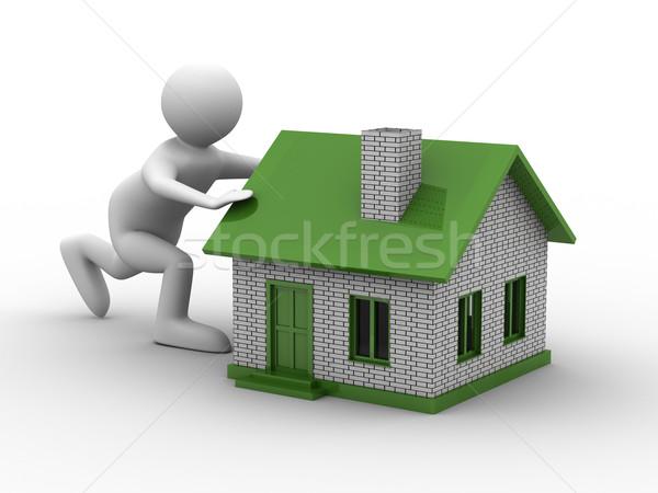 Uomini casa bianco isolato 3D Foto d'archivio © ISerg