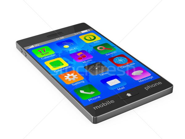 телефон белый изолированный 3D изображение дизайна Сток-фото © ISerg