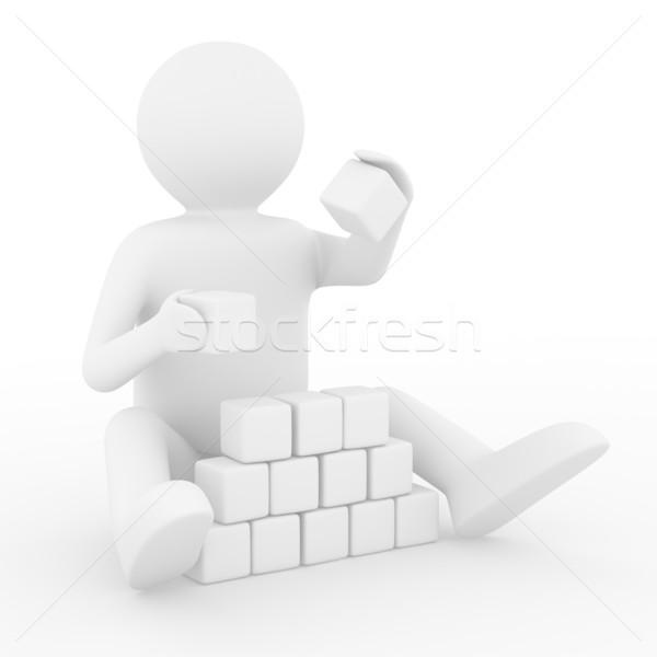 ストックフォト: 子 · キューブ · 白 · 孤立した · 3D · 画像