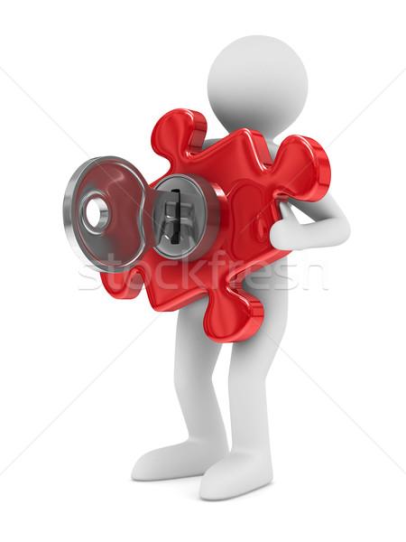 Man with puzzle on white background. Isolated 3D image Stock photo © ISerg