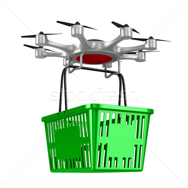 octocopter with shopping basket on white background. Isolated 3d Stock photo © ISerg