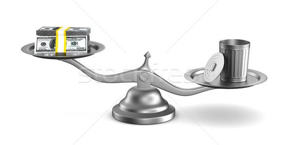 Garbage basket and money on scale. Isolated 3D illustration Stock photo © ISerg