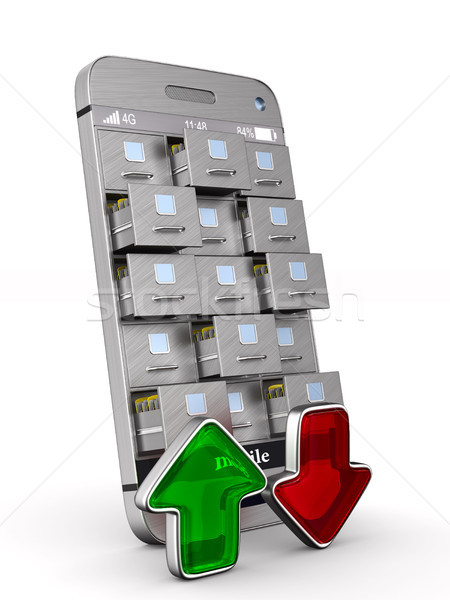 phone with filing cabinet and arrows on white background. Isolat Stock photo © ISerg