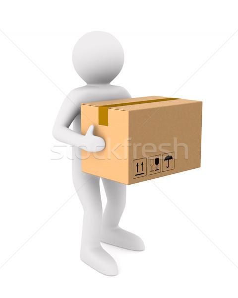 Férfiak szállít teher doboz izolált 3d illusztráció Stock fotó © ISerg