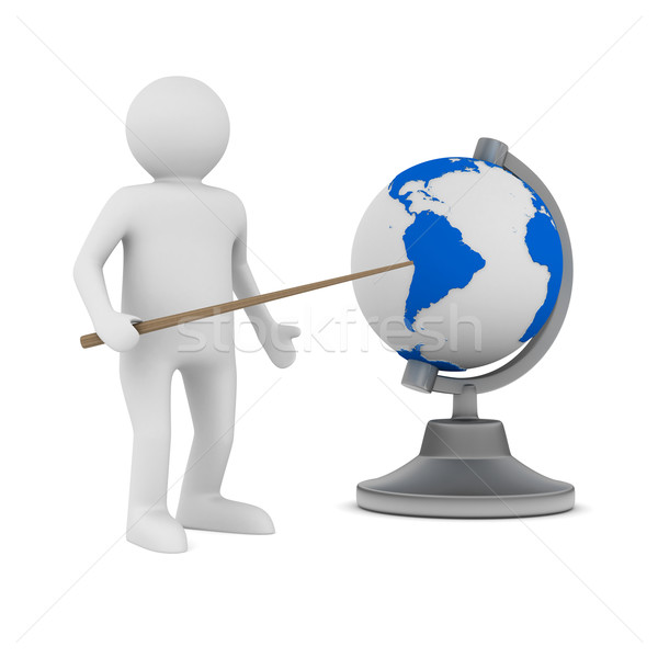 Stock photo: man and globe on white background. Isolated 3D image