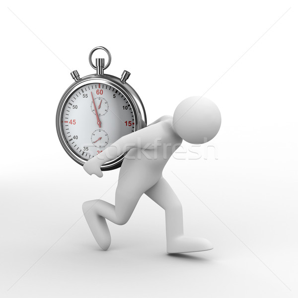 Stopwatch and man on white background. Isolated 3D image Stock photo © ISerg