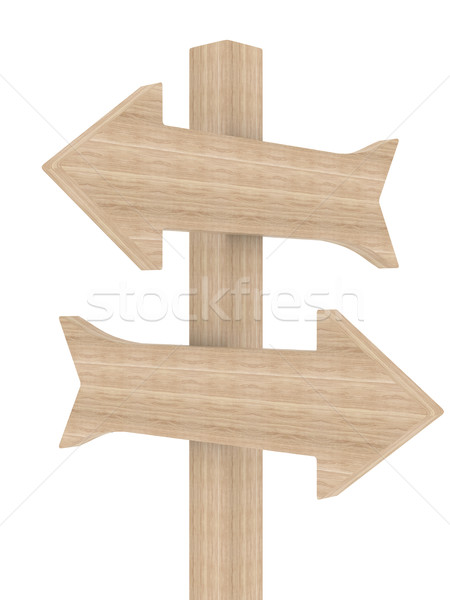 Wooden directional marker on a white background. Isolated 3D image Stock photo © ISerg