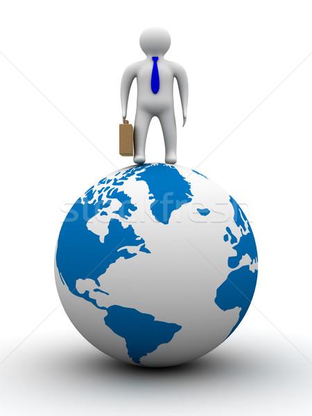 Stock photo: businessman on globe. Isolated 3D image. White background