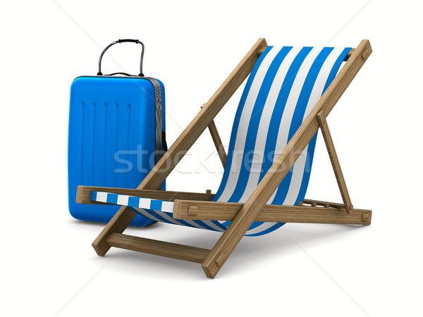 Deckchair and luggage on white background. Isolated 3D image Stock photo © ISerg