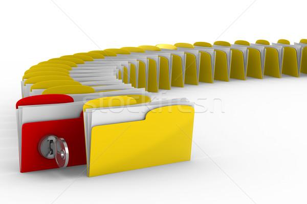 Zdjęcia stock: Komputera · folderze · kluczowych · odizolowany · 3D · obraz