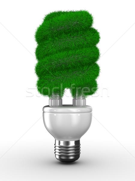 Stock fotó: Energia · takarékosság · villanykörte · fehér · izolált · 3D