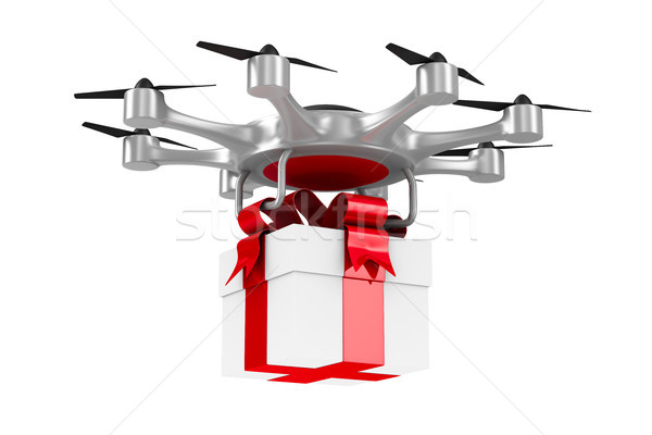octocopter with gift box on white background. Isolated 3d illust Stock photo © ISerg