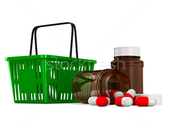 shopping basket and medicament on white background. Isolated 3d  Stock photo © ISerg