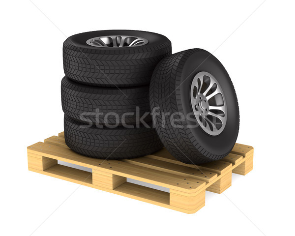 tire and pallet on white background. Isolated 3D illustration Stock photo © ISerg