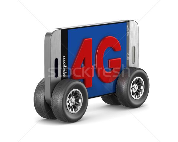 4g telefoon witte geïsoleerd 3d illustration mobiele Stockfoto © ISerg