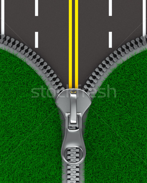 Zíper grama estrada isolado 3D imagem Foto stock © ISerg