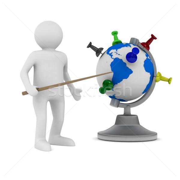 man and globe on white background. Isolated 3D image Stock photo © ISerg