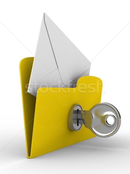Foto stock: Amarelo · computador · dobrador · e-mail · branco · isolado