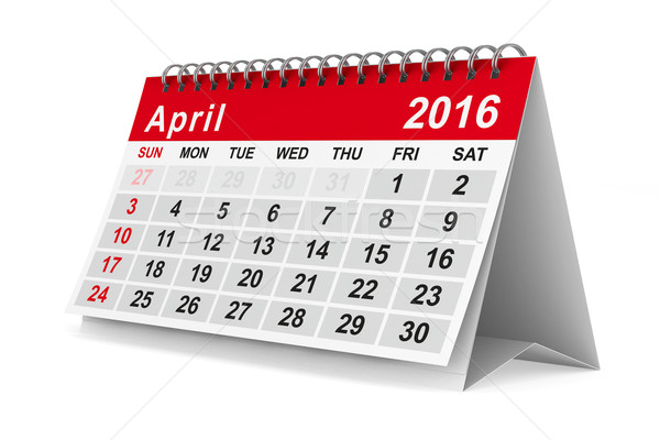 2016 year calendar. April. Isolated 3D image Stock photo © ISerg