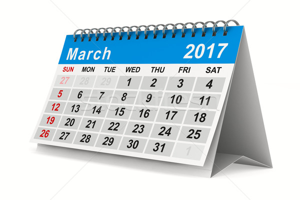 2017 year calendar. March. Isolated 3D image Stock photo © ISerg