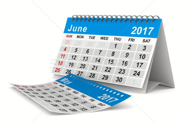 2017 year calendar. June. Isolated 3D image Stock photo © ISerg