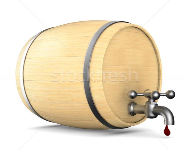 Houten vat witte geïsoleerd 3d illustration bier Stockfoto © ISerg