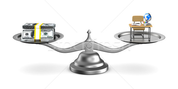 Money and education on scales. Isolated 3D illustration Stock photo © ISerg