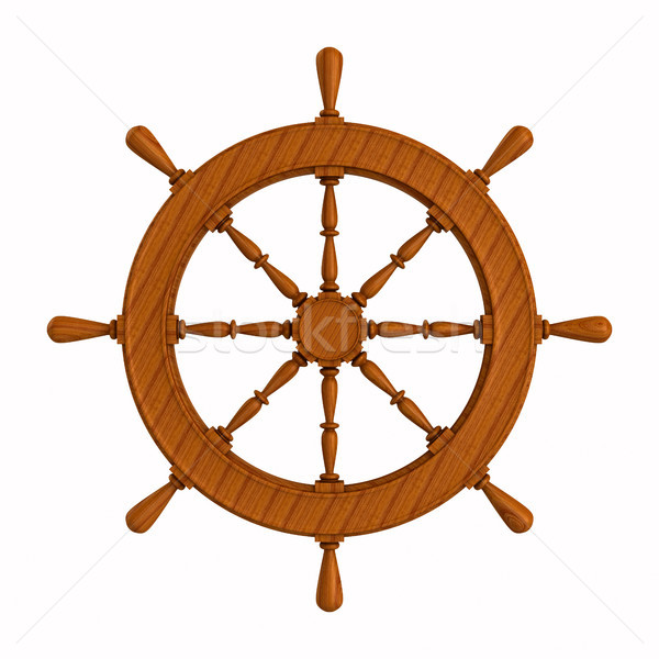 ship wheel on white background. Isolated 3D illustration Stock photo © ISerg