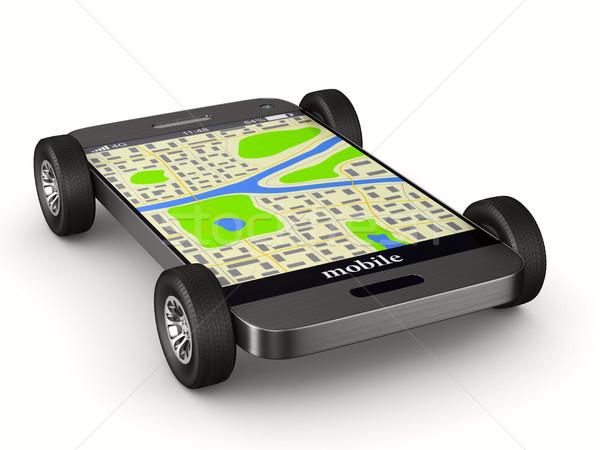 навигация телефон изолированный 3d иллюстрации автомобилей интернет Сток-фото © ISerg